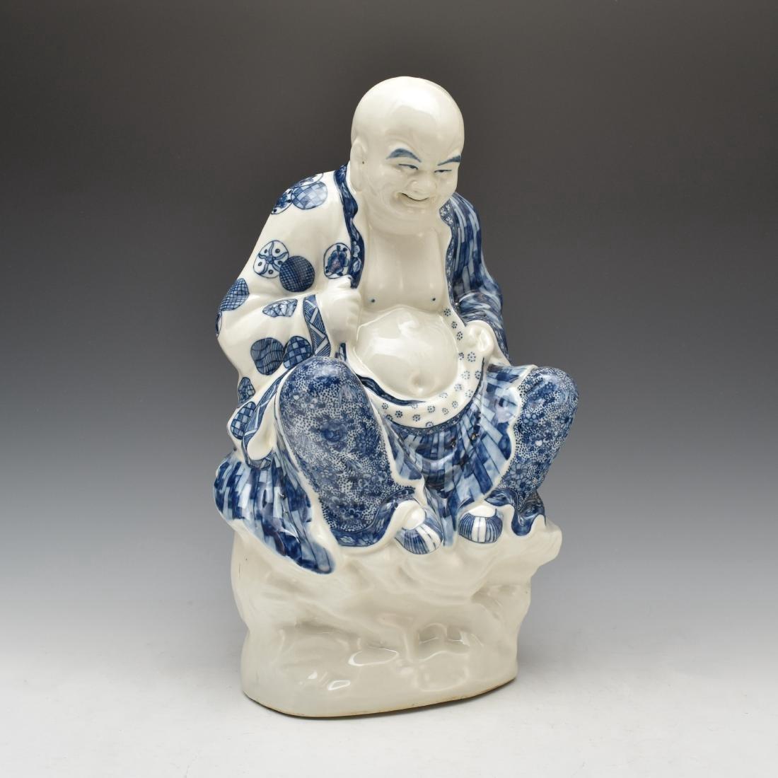BLUE UNDERGLAZED PORCELAIN SEATED BUDDHA - 5