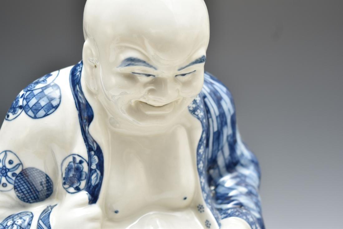 BLUE UNDERGLAZED PORCELAIN SEATED BUDDHA - 6