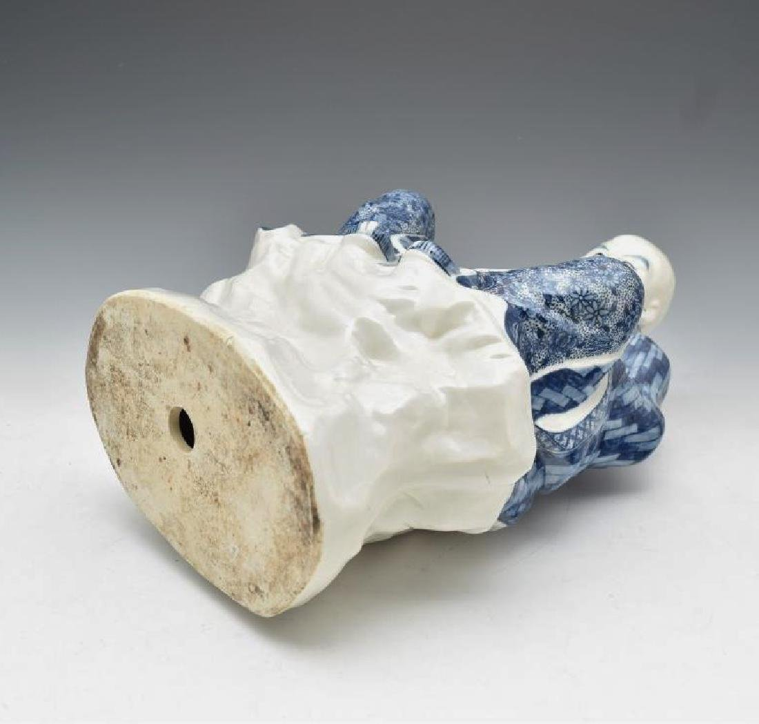 BLUE UNDERGLAZED PORCELAIN SEATED BUDDHA - 8