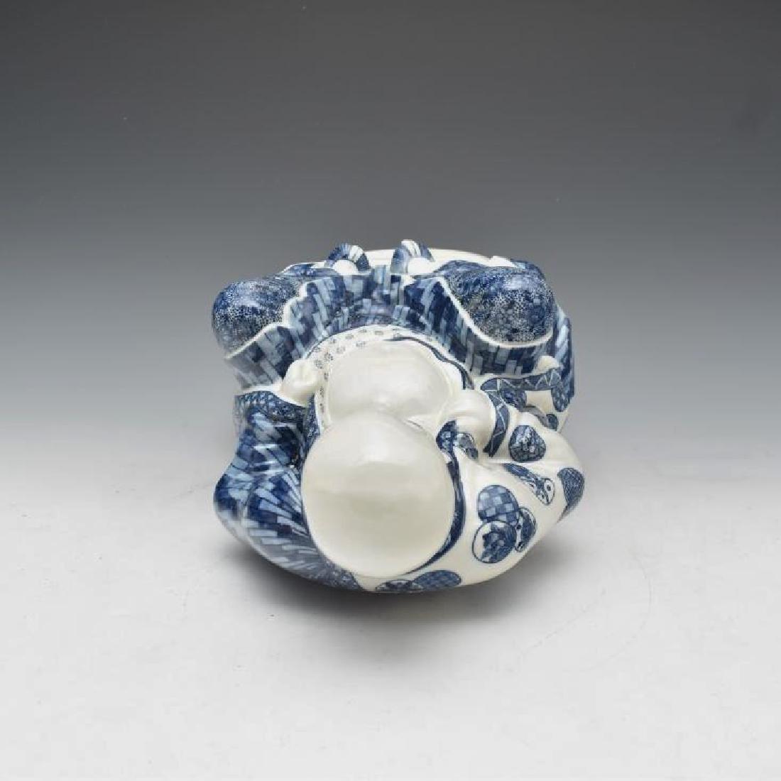 BLUE UNDERGLAZED PORCELAIN SEATED BUDDHA - 9