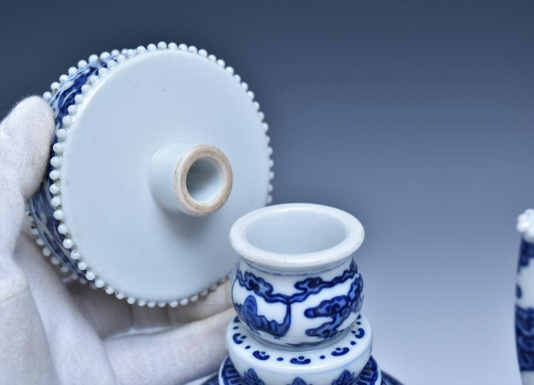 BLUE & WHITE DRAGON TEAPOT WITH POTRUDING GRAIN MOTIF - 4