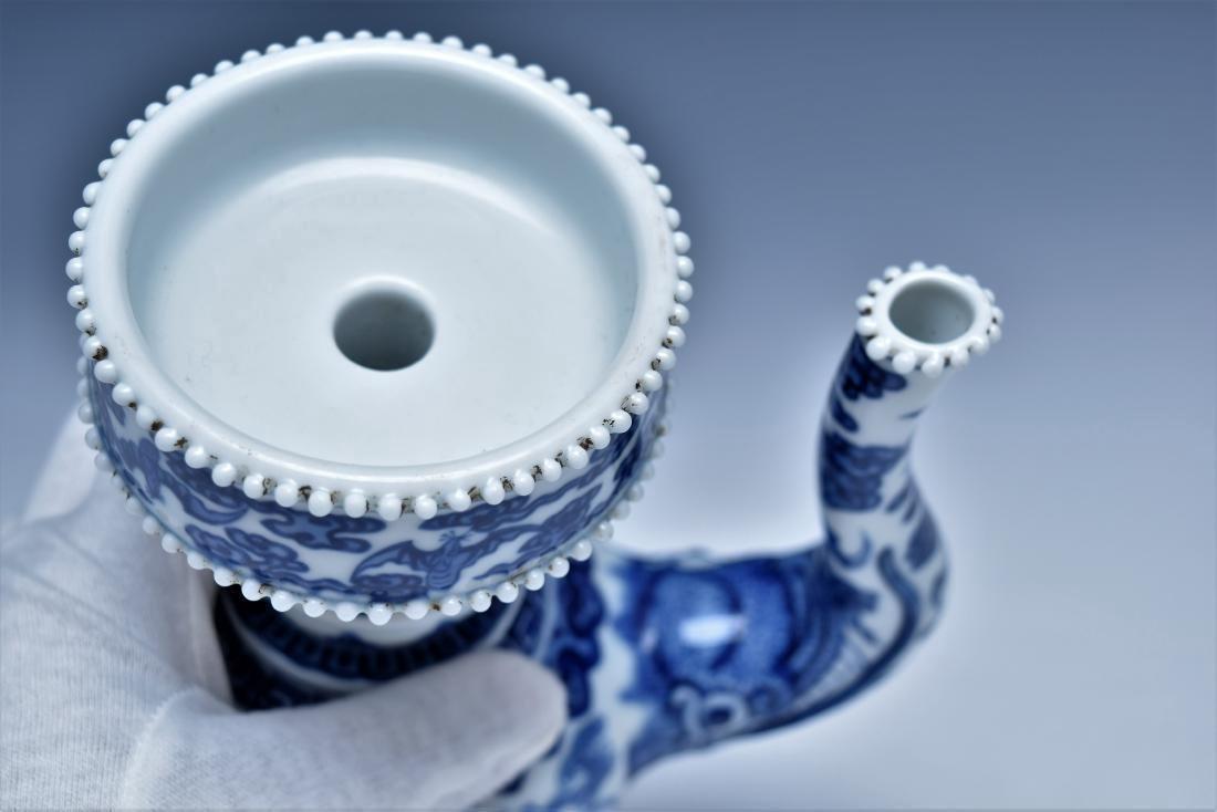 BLUE & WHITE DRAGON TEAPOT WITH POTRUDING GRAIN MOTIF - 5
