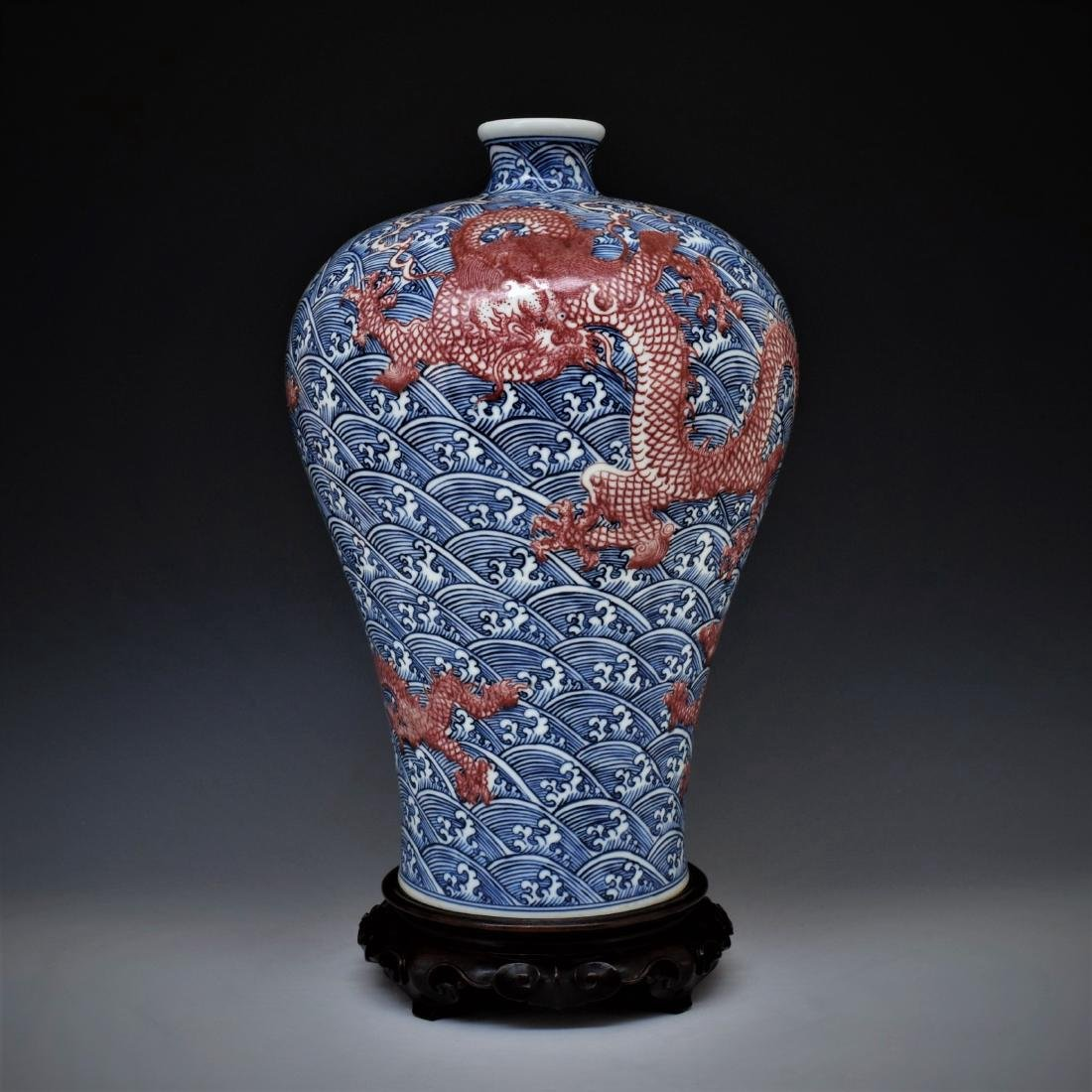 RED DRAGON ON BLUE & WHITE MEIPING VASE ON STAND