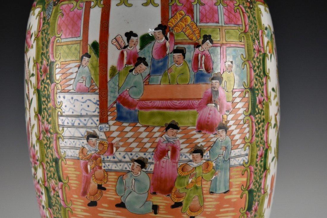 GILT FAMILLE ROSE CANTON FLOOR VASE - 6