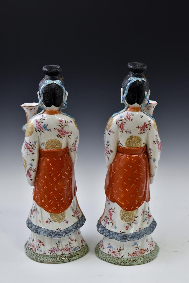 20TH C PAIR OF CHINESE FAMILLE ROSE PORCELAIN FIGURINES - 3