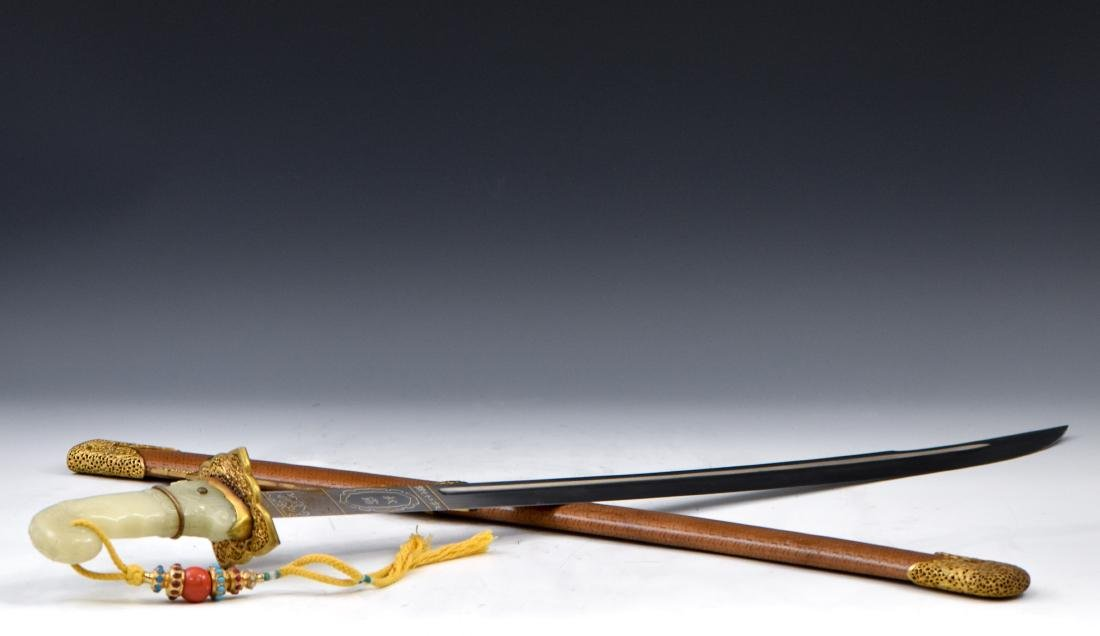 CHINESE QING IMPERIAL JADE HILT CEREMONIAL SABER