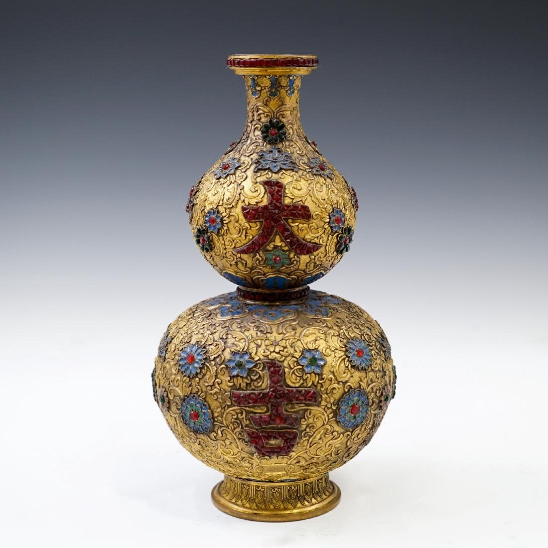 GILT BRONZE ENAMEL INLAID DOUBLE GOURD VASE