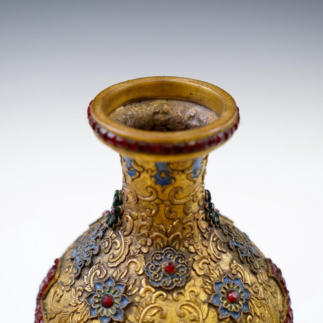 GILT BRONZE ENAMEL INLAID DOUBLE GOURD VASE - 5