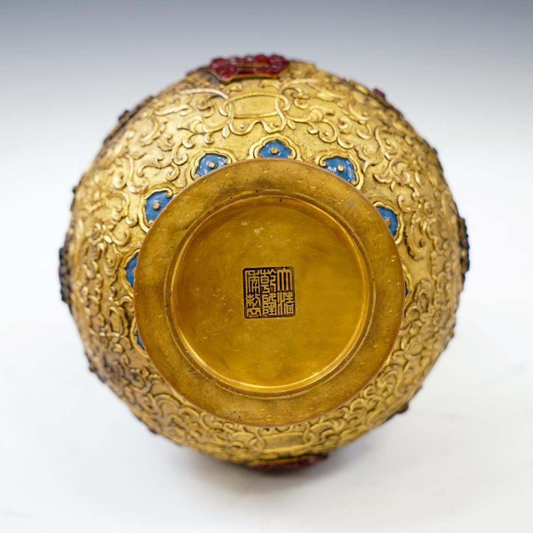 GILT BRONZE ENAMEL INLAID DOUBLE GOURD VASE - 7