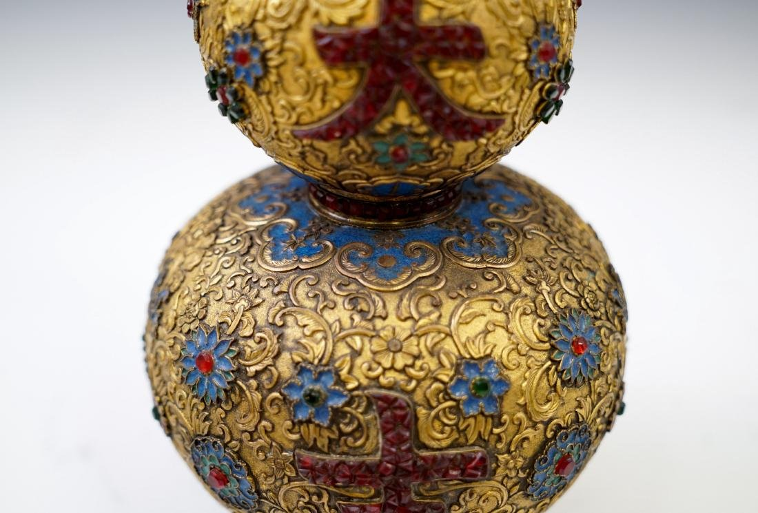 GILT BRONZE ENAMEL INLAID DOUBLE GOURD VASE - 8