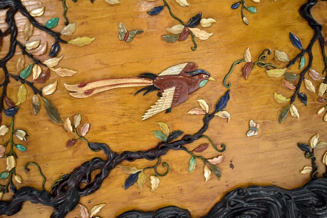 PAIR OF STONES INLAID WALL SCREEN OF MAGPIE & PRUNUS - 3