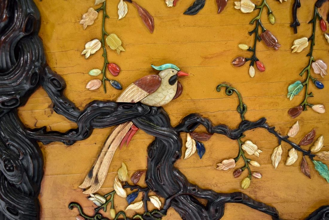 PAIR OF STONES INLAID WALL SCREEN OF MAGPIE & PRUNUS - 8