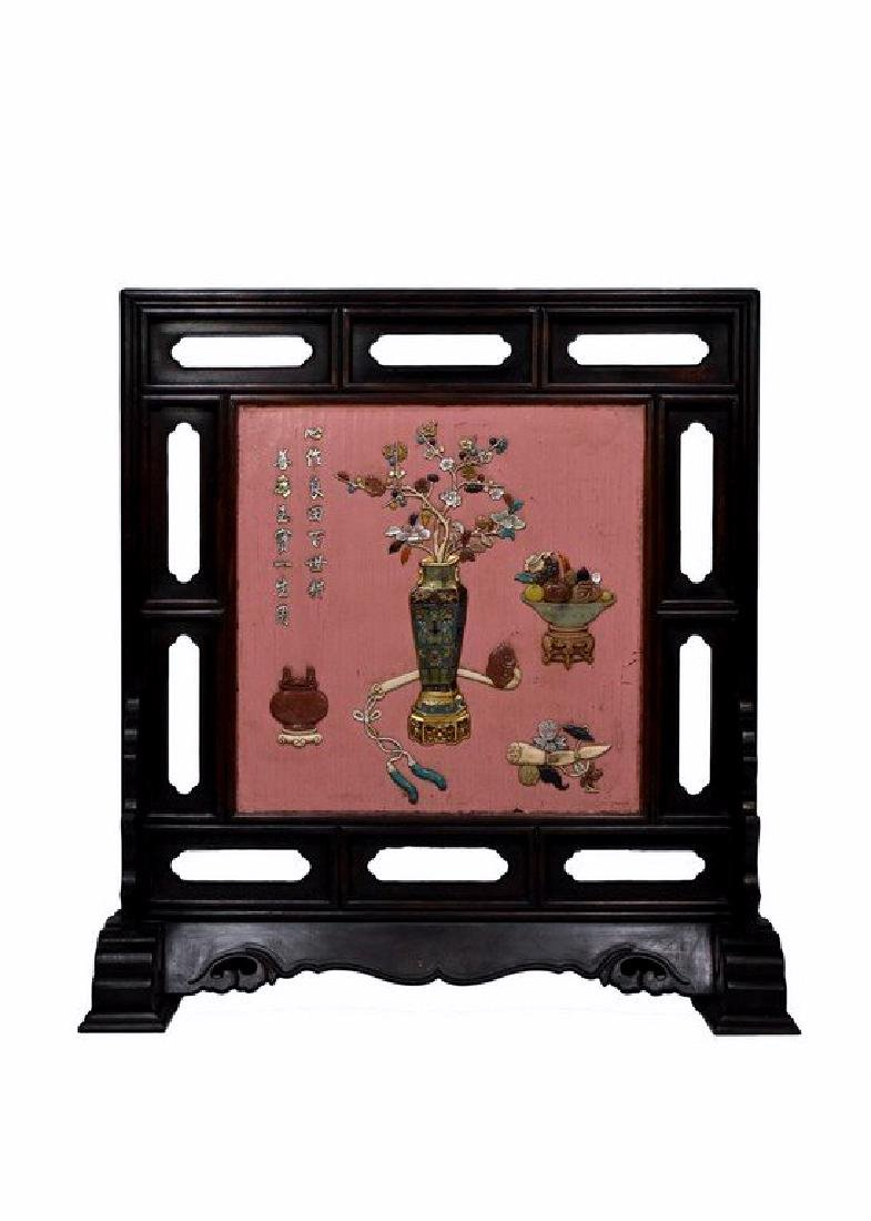 A SEMI PRECIOUS STONES INLAID AND PINK LACQUER