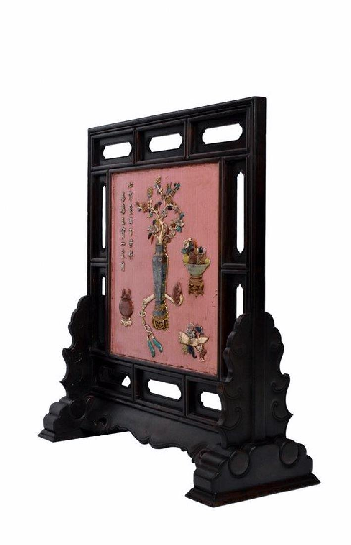 A SEMI PRECIOUS STONES INLAID AND PINK LACQUER - 2