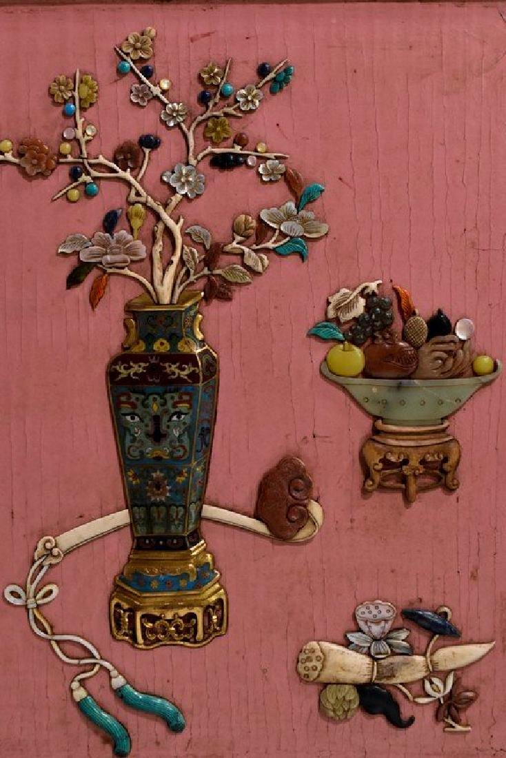 A SEMI PRECIOUS STONES INLAID AND PINK LACQUER - 6