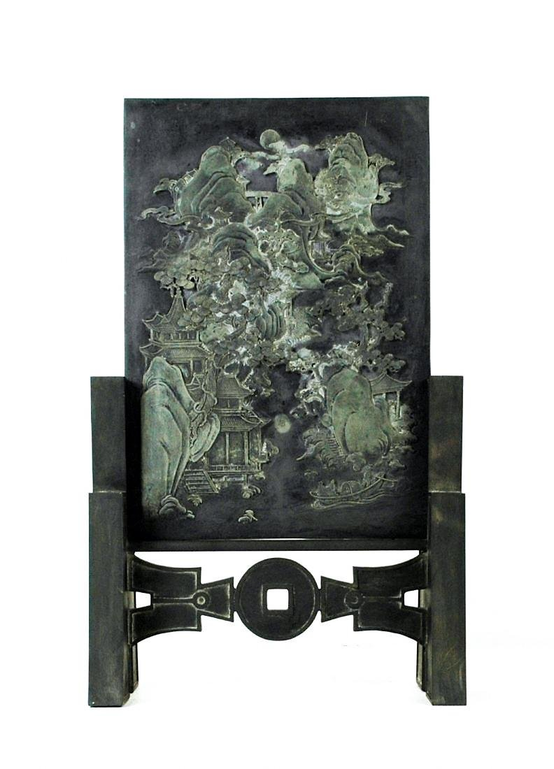 A LARGE INK STONE PANORAMIC TABLE SCREEN
