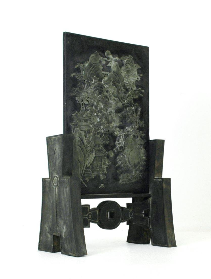 A LARGE INK STONE PANORAMIC TABLE SCREEN - 2