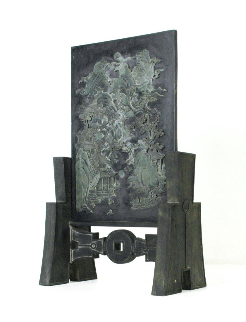 A LARGE INK STONE PANORAMIC TABLE SCREEN - 3