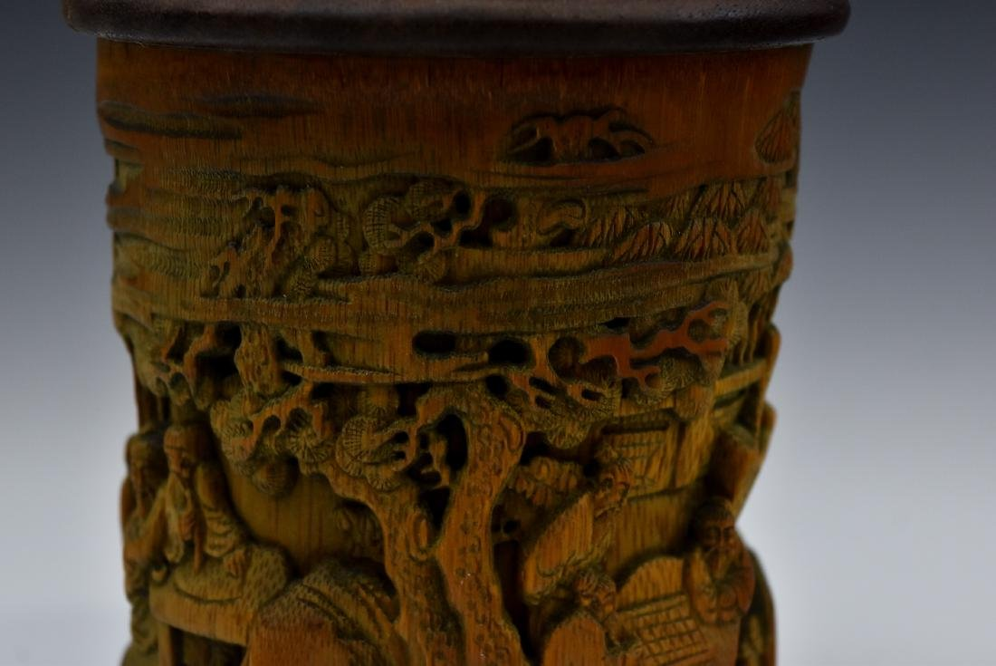 FINELY CARVED BAMBOO SCHOLAR BRUSH POT - 10