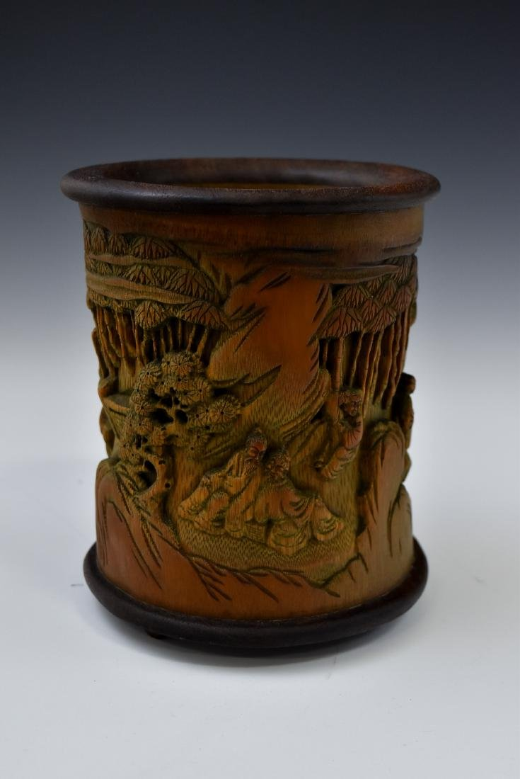 FINELY CARVED BAMBOO SCHOLAR BRUSH POT - 2