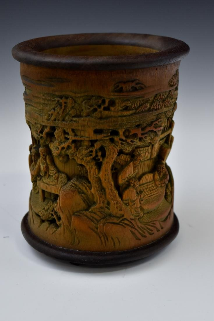 FINELY CARVED BAMBOO SCHOLAR BRUSH POT - 4