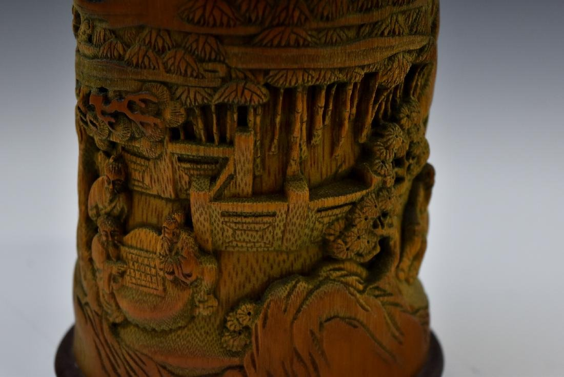 FINELY CARVED BAMBOO SCHOLAR BRUSH POT - 8