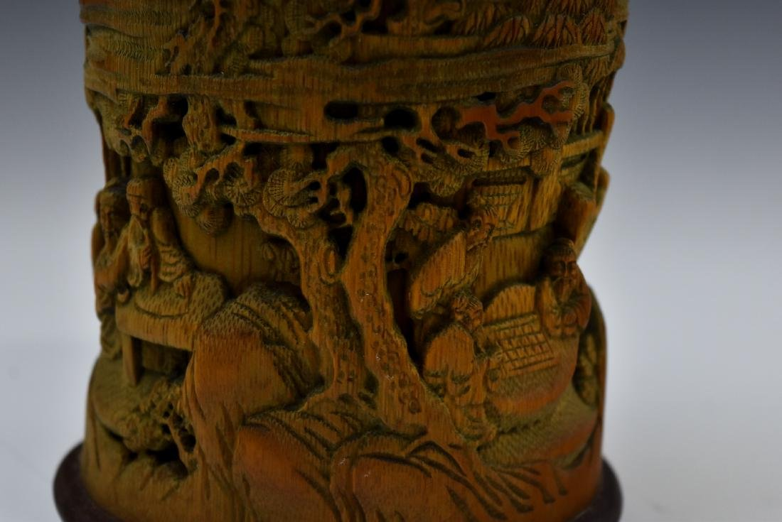 FINELY CARVED BAMBOO SCHOLAR BRUSH POT - 9