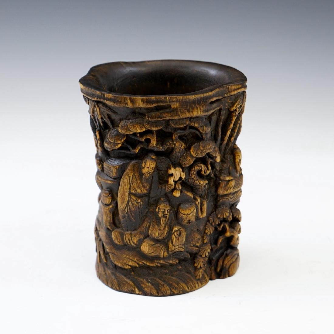 IMPORTANT, FINE CARVED CHENXIANG WOOD BRUSH POT