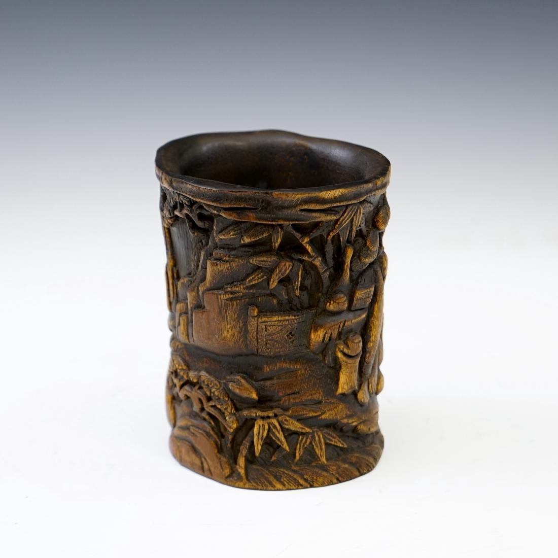 IMPORTANT, FINE CARVED CHENXIANG WOOD BRUSH POT - 2