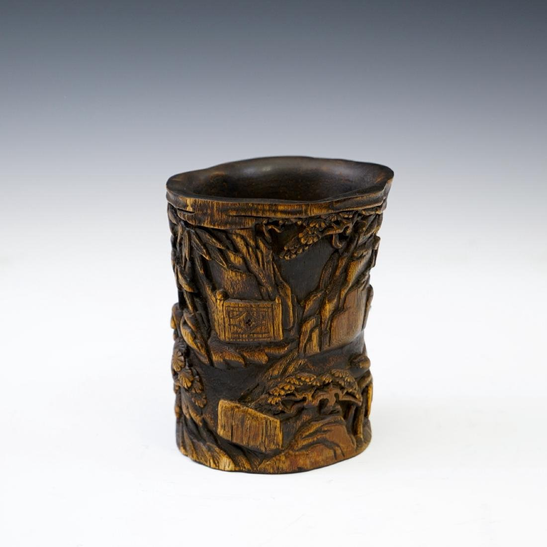 IMPORTANT, FINE CARVED CHENXIANG WOOD BRUSH POT - 3