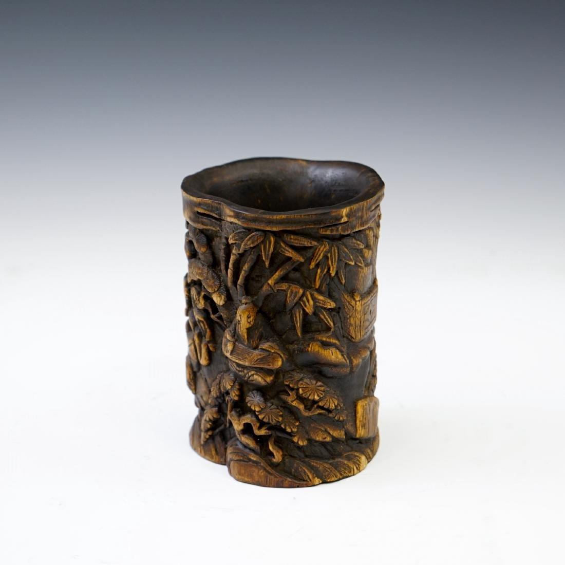 IMPORTANT, FINE CARVED CHENXIANG WOOD BRUSH POT - 4