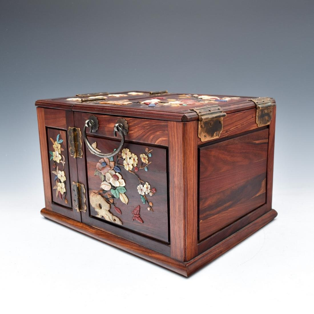 HUANGHUALI INLAID JEWELRY CHEST - 2