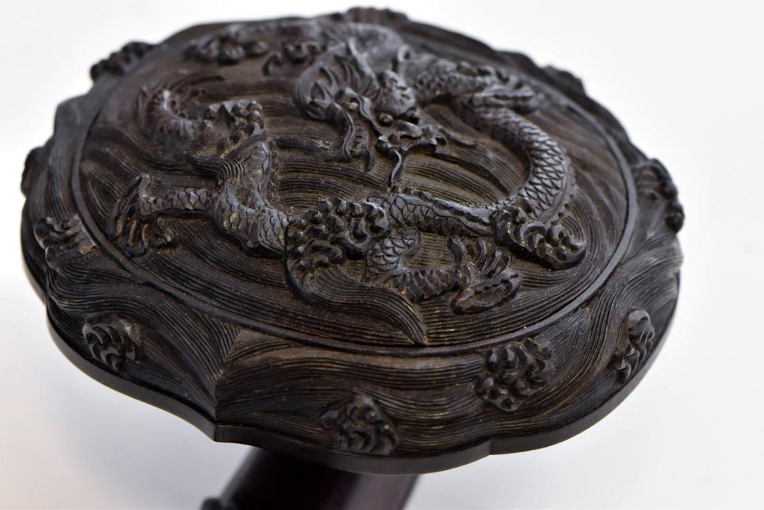 DRAGON CARVED CHINESE ZITAN RUYI SCEPTER - 9