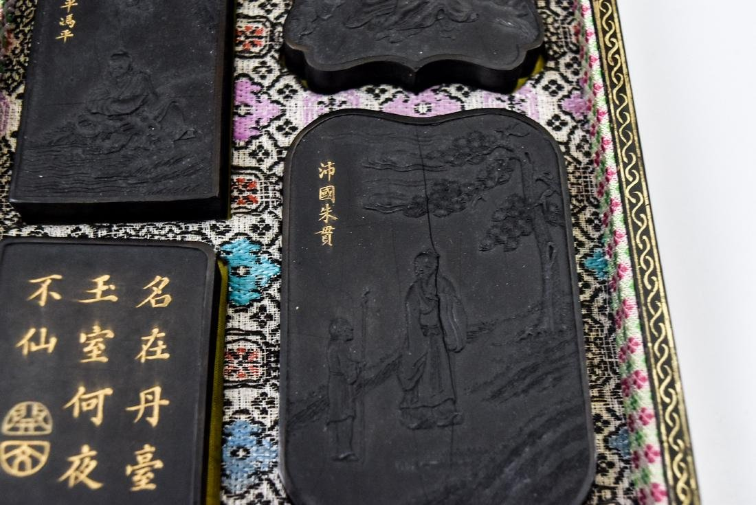 19TH C. CHINESE INK STONES IN BOX - 7