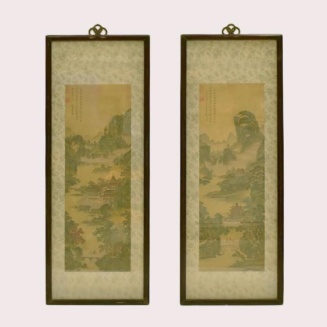 SET OF 2 FRAMED CHINESE PAINTINGS OF PAVILIONS