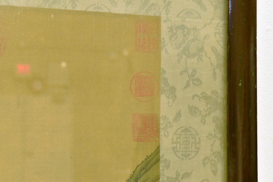 SET OF 2 FRAMED CHINESE PAINTINGS OF PAVILIONS - 4
