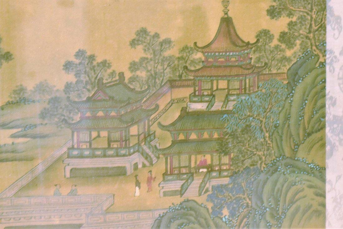 SET OF 2 FRAMED CHINESE PAINTINGS OF PAVILIONS - 5