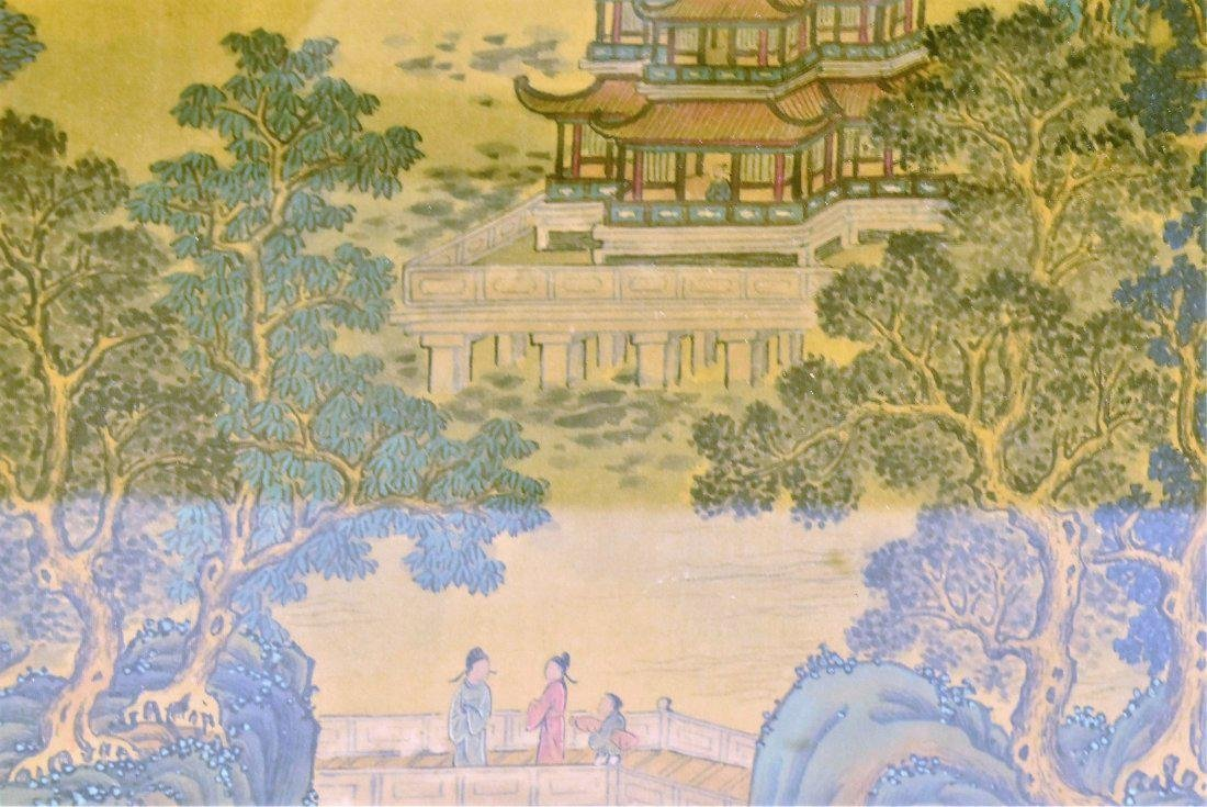 SET OF 2 FRAMED CHINESE PAINTINGS OF PAVILIONS - 7