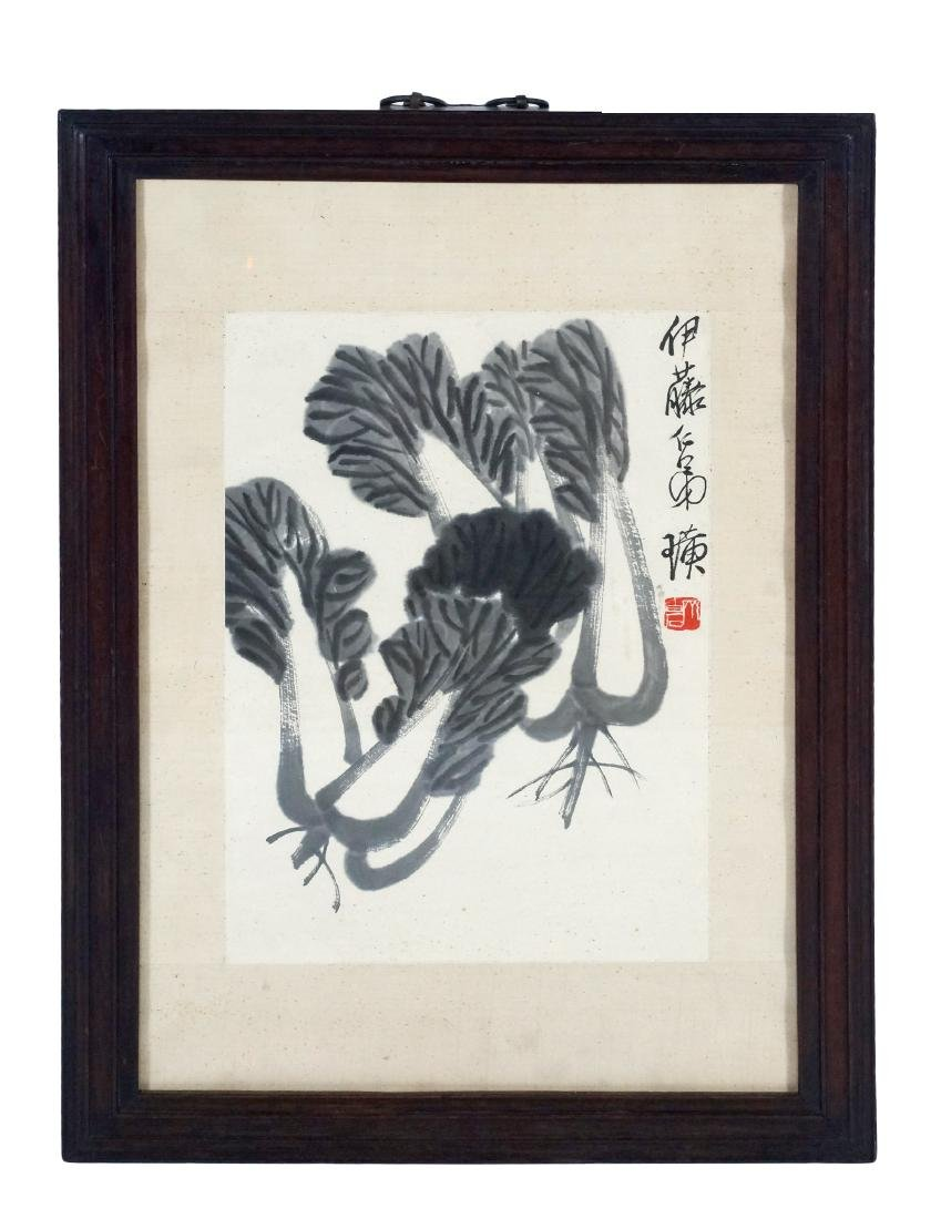 FRAME CHINESE PAINTING OF NAPA CABBAGE