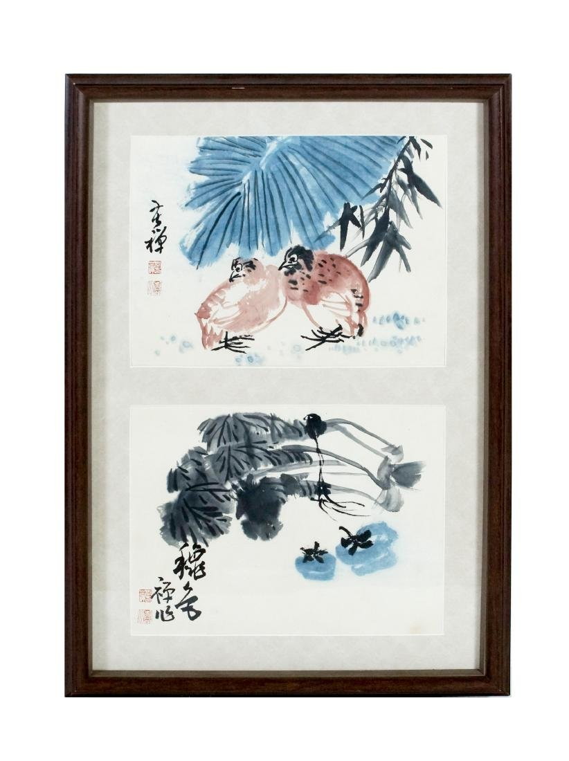 FRAMED CHINESE BIRDS & FLOWER PAINTINGS