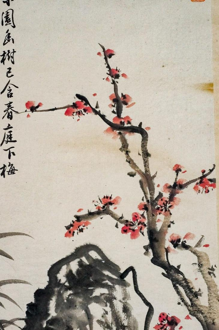 CHINESE BAMBOO & CHERRY BLOOMS PAINTING SCROLL - 6