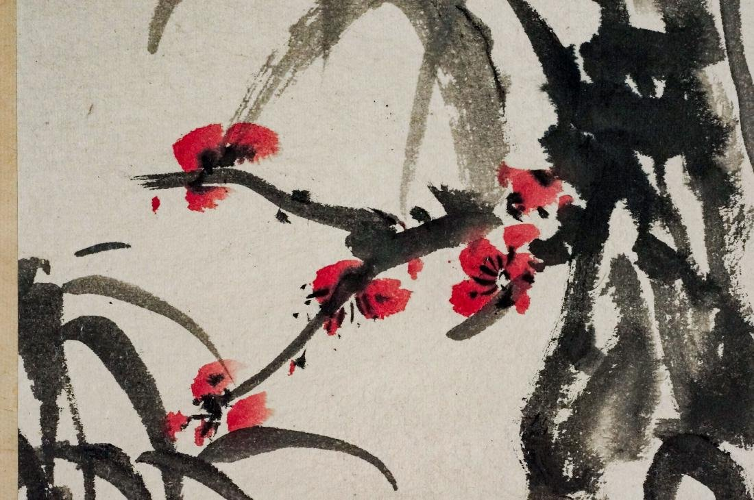 CHINESE BAMBOO & CHERRY BLOOMS PAINTING SCROLL - 7