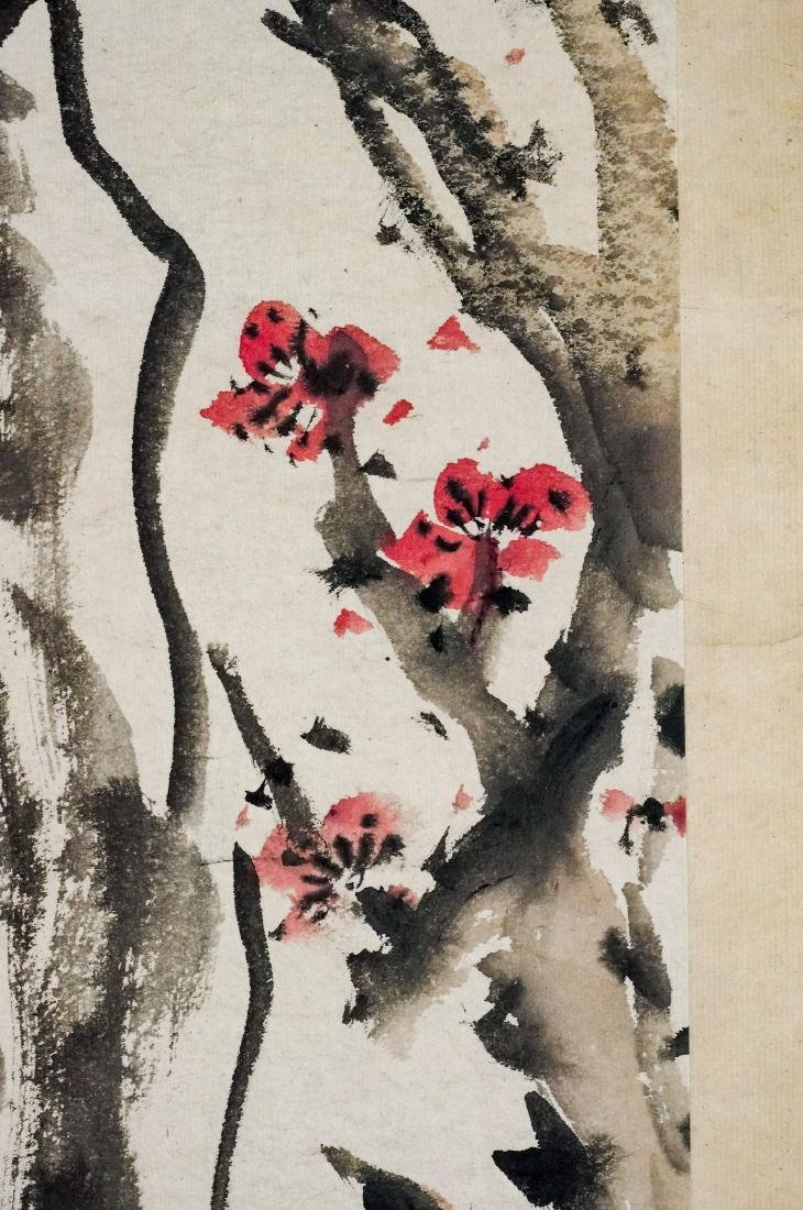 CHINESE BAMBOO & CHERRY BLOOMS PAINTING SCROLL - 8