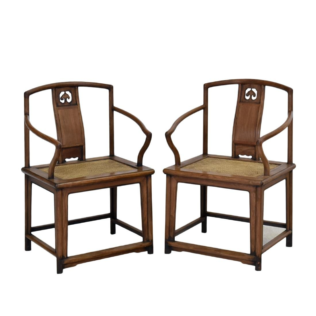 PAIR OF HUANGHUALI SOUTHERN OFFICIAL'S HAT ARMCHAIRS