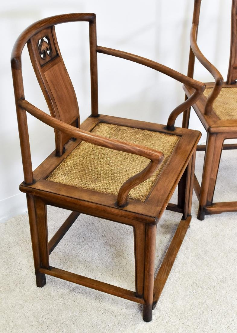PAIR OF HUANGHUALI SOUTHERN OFFICIAL'S HAT ARMCHAIRS - 2