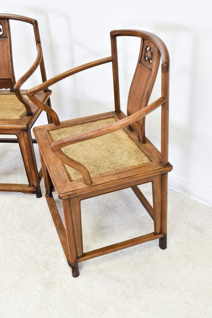 PAIR OF HUANGHUALI SOUTHERN OFFICIAL'S HAT ARMCHAIRS - 3