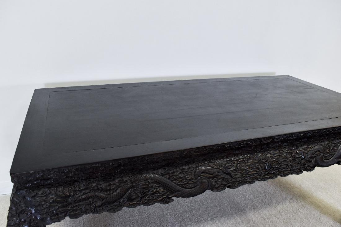 19TH C LARGE CHINESE ZITAN CARVED PAINTING TABLE - 10