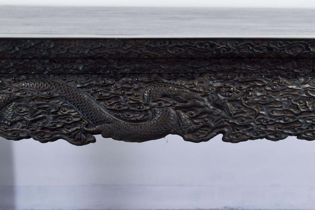 19TH C LARGE CHINESE ZITAN CARVED PAINTING TABLE - 6