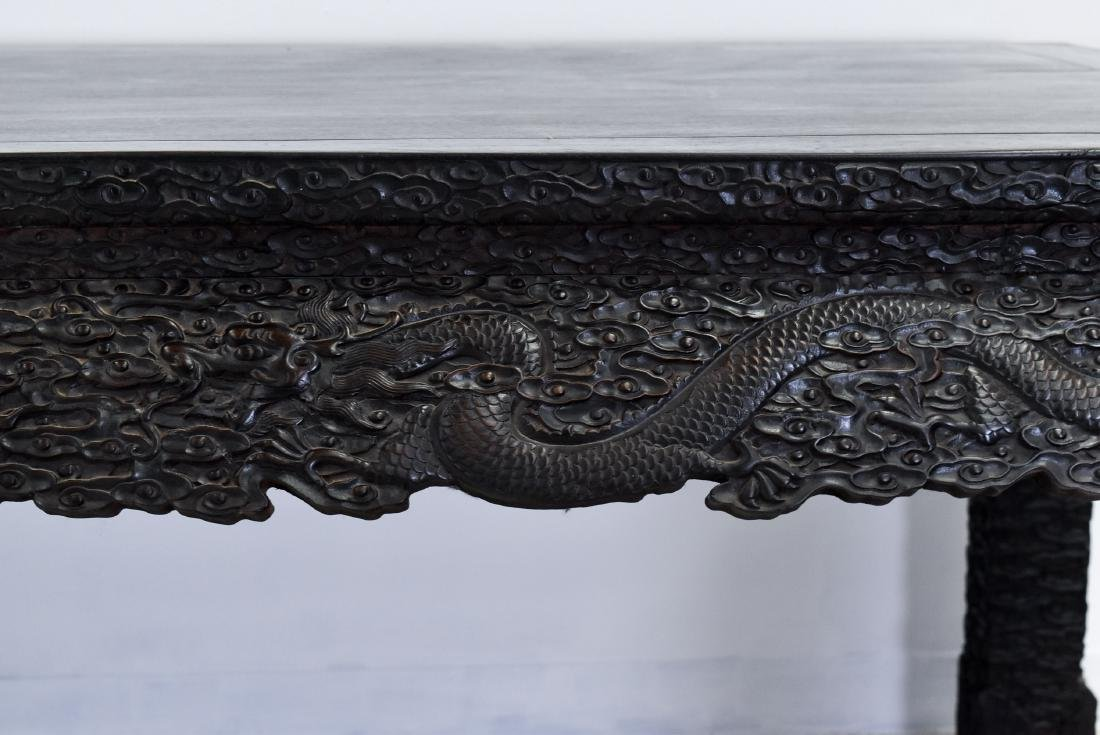 19TH C LARGE CHINESE ZITAN CARVED PAINTING TABLE - 7