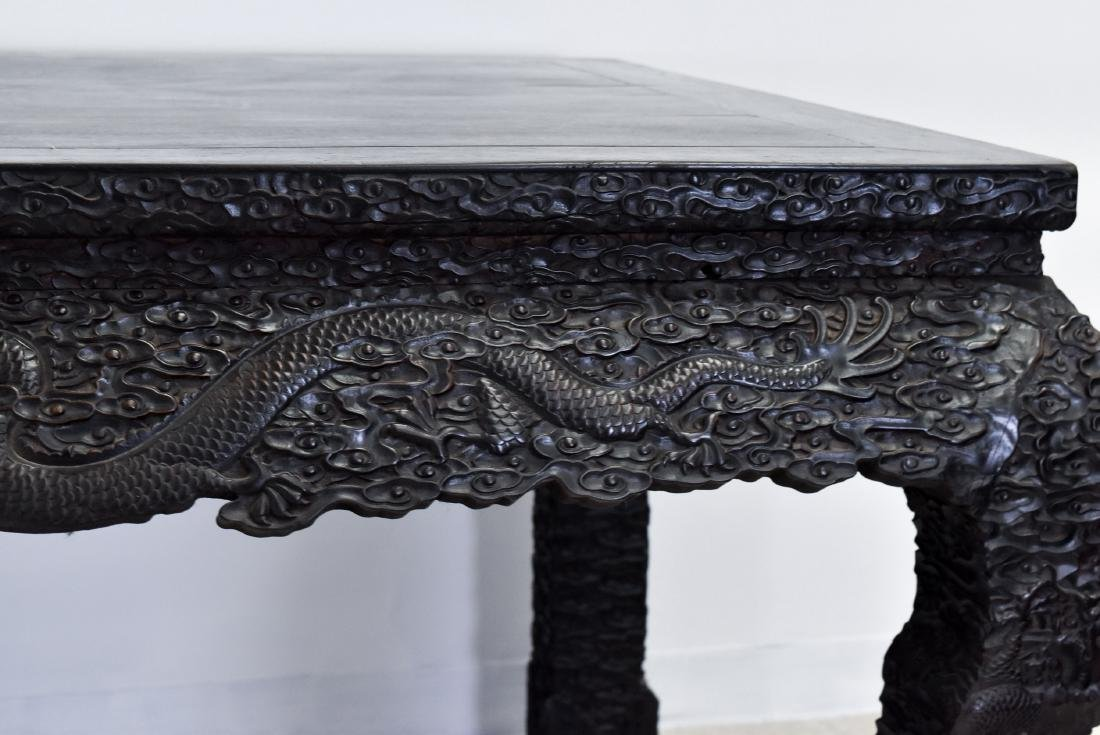 19TH C LARGE CHINESE ZITAN CARVED PAINTING TABLE - 8